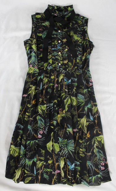 Gucci Tropical Pleated Silk Dress Image 1