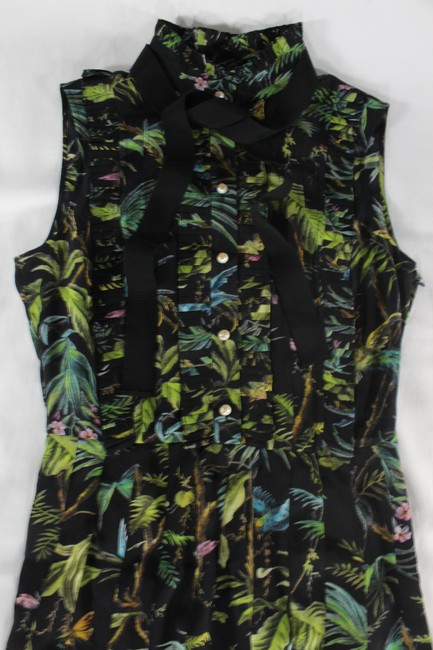 Gucci Tropical Pleated Silk Dress Image 2
