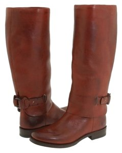Frye Leather Pull On Knee High Red Loop Brown Boots