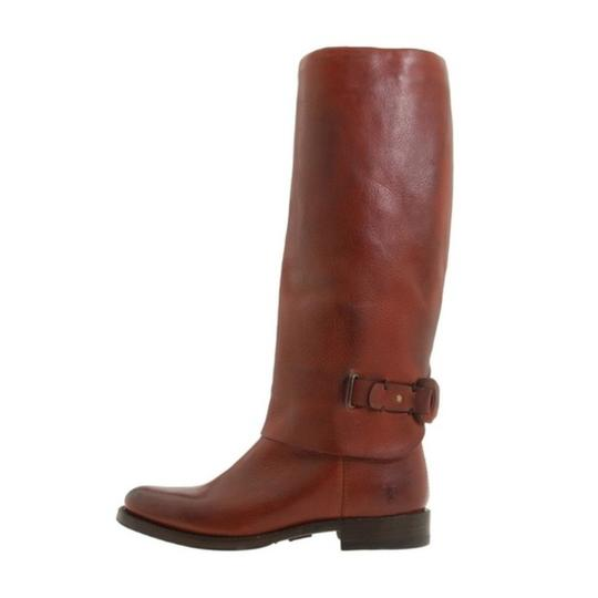 Frye Leather Pull On Knee High Red Loop Brown Boots Image 4