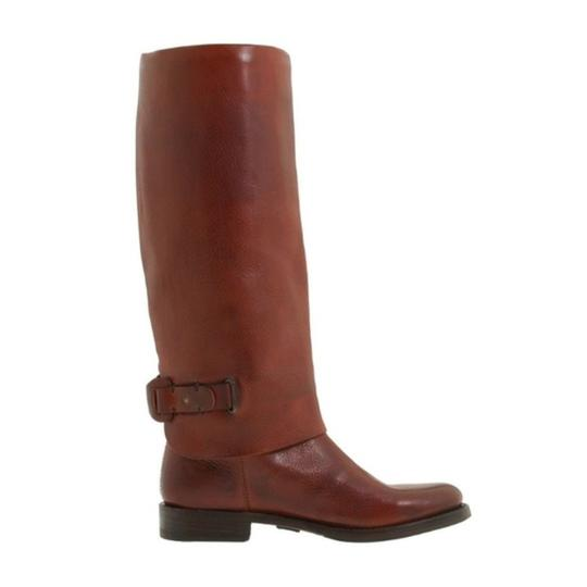Frye Leather Pull On Knee High Red Loop Brown Boots Image 6