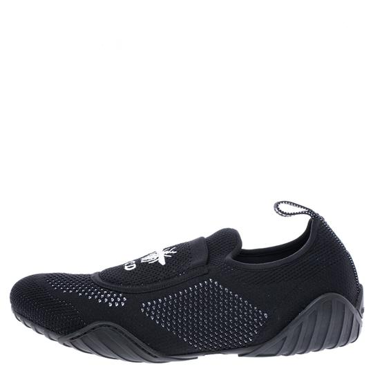 Dior Stretch Knit Fabric Leather Rubber Black Flats Image 3