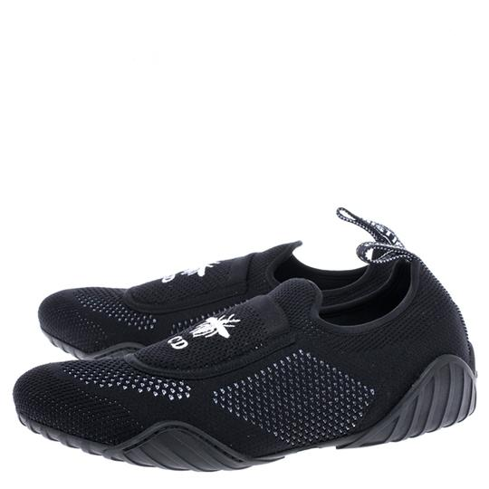Dior Stretch Knit Fabric Leather Rubber Black Flats Image 4
