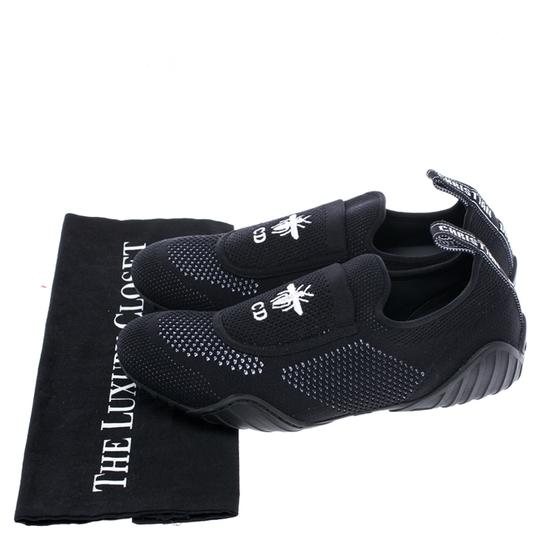 Dior Stretch Knit Fabric Leather Rubber Black Flats Image 7