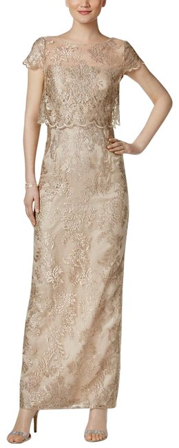 Item - Rose Gold/Nude Tiered Lace Gown Gold/Nude Long Formal Dress Size 4 (S)