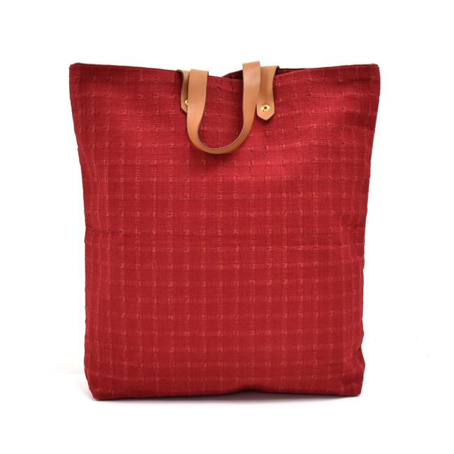 Item - Ahmedabad Bag Cotton Brown Red Canvas Leather Tote