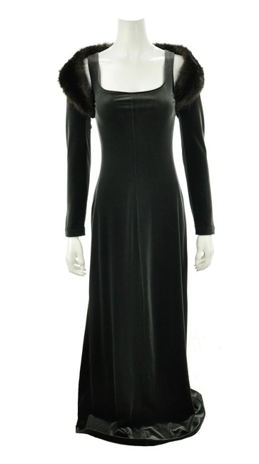 Item - Grey Charcoal Velvet Sleeveless Maxi with Faux Fur Trim Cocktail Dress Size 6 (S)