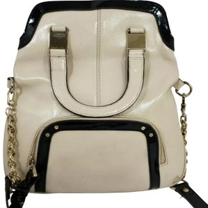 B. Makowsky Satchel in Black and Creme