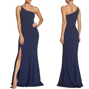Dress the Population Navy Blue Polyester Spandex Amy One-shoulder Crepe Gown Formal Bridesmaid/Mob Dress Size 12 (L)