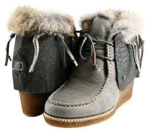 Australia Luxe Collective Designer Ankle Wedge Fur Grey Boots