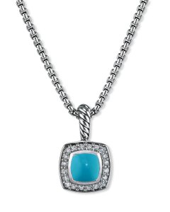 David Yurman Petite Albion Necklace with Turquoise and Diamond
