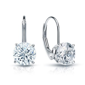 Natural Diamonds of NYC White 1.00 Ct Round Cut Leverback Drop Dangle 14 Kt Gold Earrings