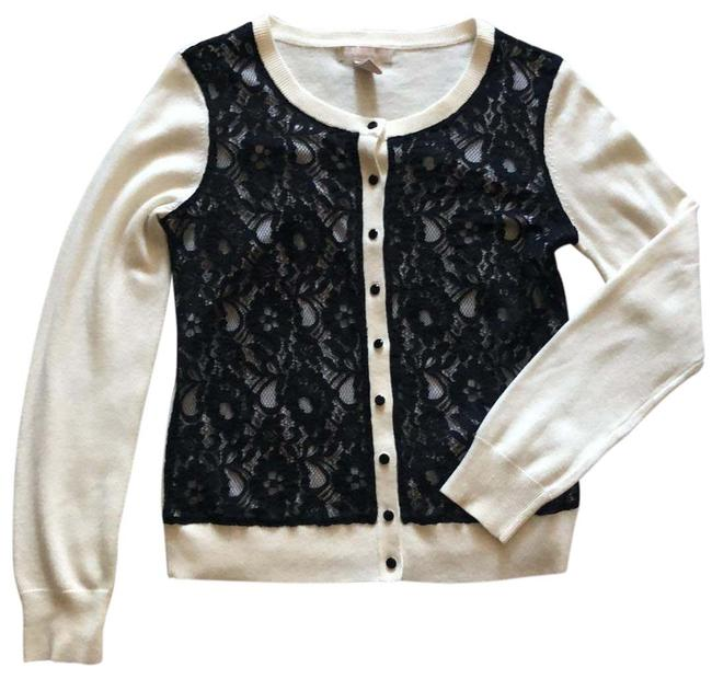 Item - Ivory with Black Lace Front Cardigan Size 8 (M)