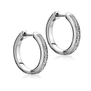 Natural Diamonds of NYC White 0.40 Ct. Tw Round Hoop Huggie In 14 Kt. Clip Mounts Earrings