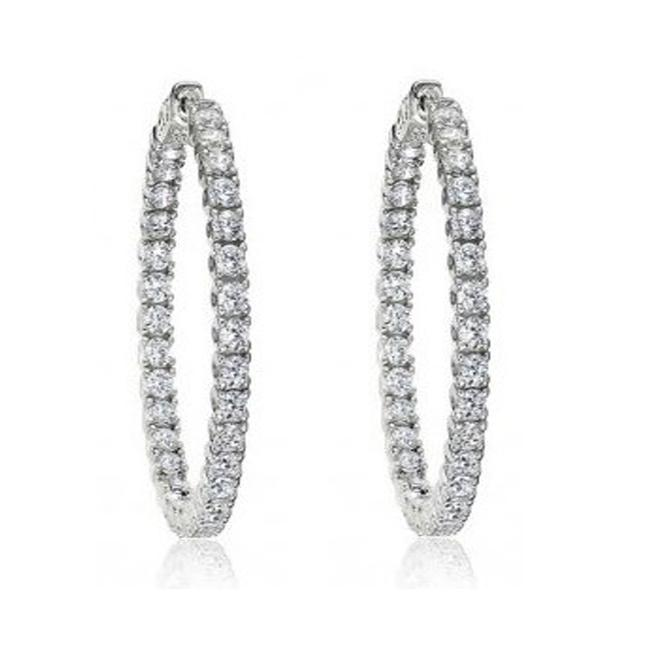 Item - White 3.25 Ct Round Inside/Outside Hoop Huggie Earrings
