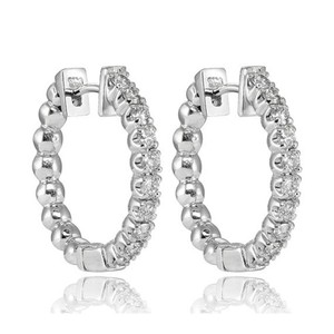 Natural Diamonds of NYC White 0.75 Ct Round Cut Hoop In 14 Kt Earrings