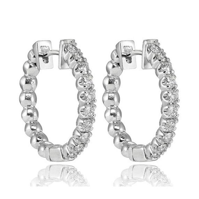 Item - White 0.75 Ct Round Cut Hoop In 14 Kt Earrings