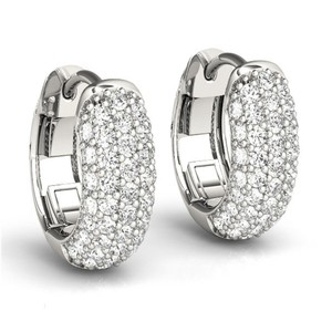 Natural Diamonds of NYC White 2.00 Ct Round Pave Hoop In 14 Kt. Clip Mounts Earrings
