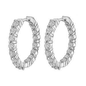 Natural Diamonds of NYC White 3.10 Ct Round Inside/Outside Hoop In 14 Kt Clip Moung Earrings