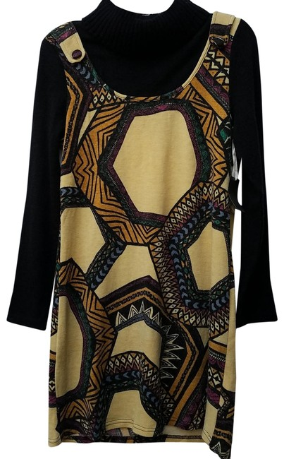 Item - Black and Yellow Sweater Short Casual Dress Size 12 (L)