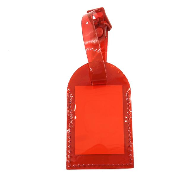 Item - #33826 Red Keepall Speedy Alma Rare Clear Pvc Vinyl Luggage Tag Prism