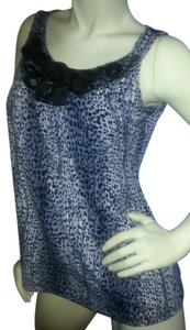 Susan Lawrence Animal Print Embellishment Neck Polyester Blend Stretch Top Black and Gray on White