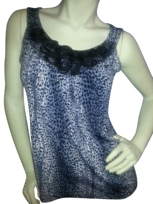 Susan Lawrence Animal Print Embellishment Neck Polyester Blend Stretch Top Black and Gray on White Image 1