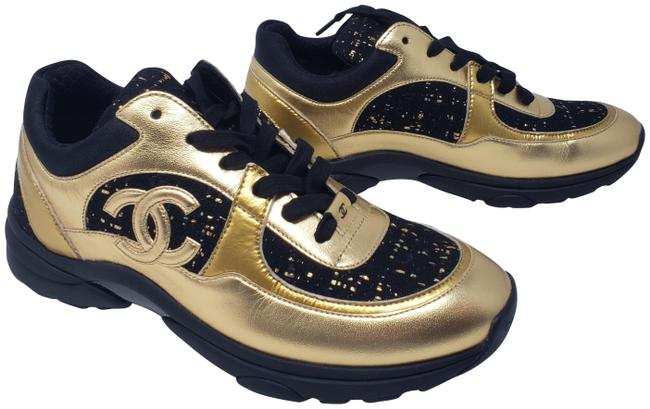 Item - Gold Black Leather Interlocking Cc Low-top Sneakers Size EU 40 (Approx. US 10) Regular (M, B)
