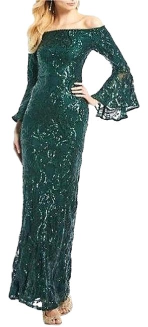 Item - Green Sequined Off-the-shoulder Gown Long Formal Dress Size 2 (XS)