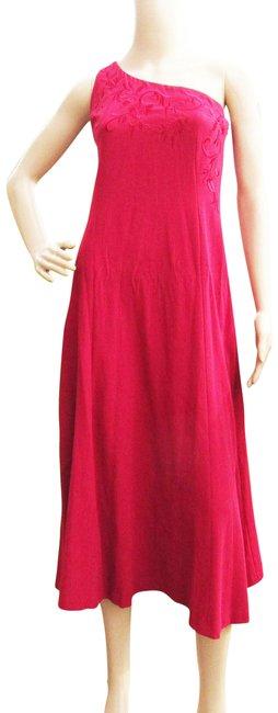 Item - Red One Shoulder Embroidered Cocktail Party Mid-length Formal Dress Size 4 (S)