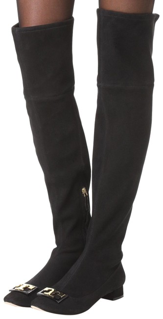 Item - Suede Black Gigi Stretch Over The Knee Gold Logo (M34) Boots/Booties Size US 6 Regular (M, B)