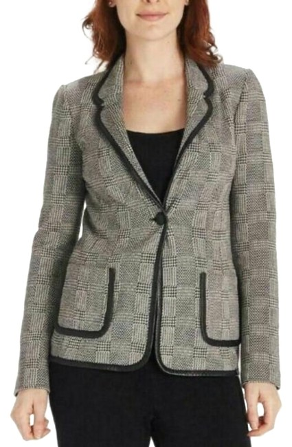 Item - Black and White Collection Blazer Plaid Leather Trim Jacket Size 4 (S)