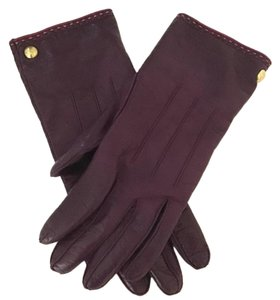 COACH COACH SIMPLE PURPLE LEATHER GLOVES 82821 CASHMERE LINED