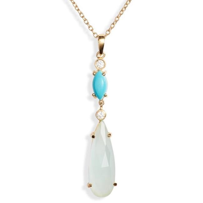 Argento Vivo Blue Gold Chalcedony Topaz Pendant Necklace Argento Vivo Blue Gold Chalcedony Topaz Pendant Necklace Image 1