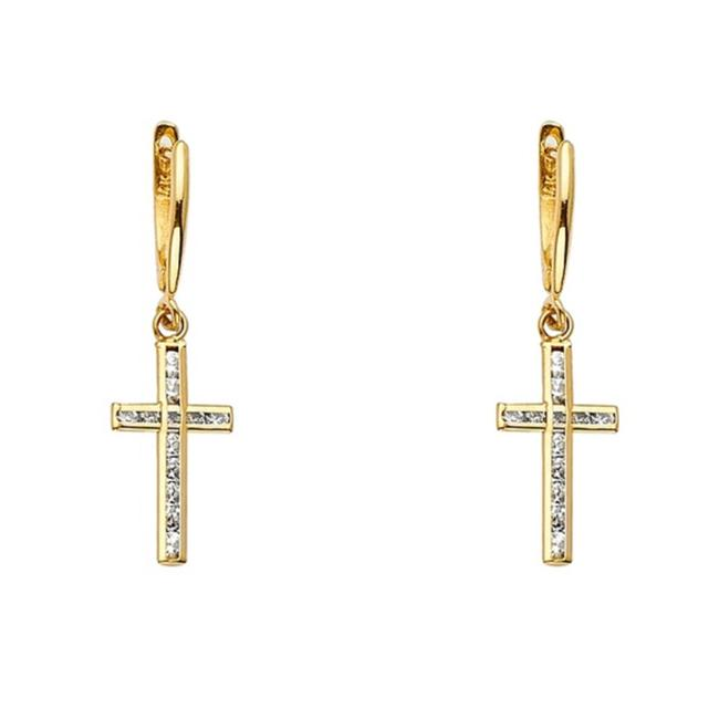 Item - Yellow Gold 14k Cz Cross Dangling Earrings