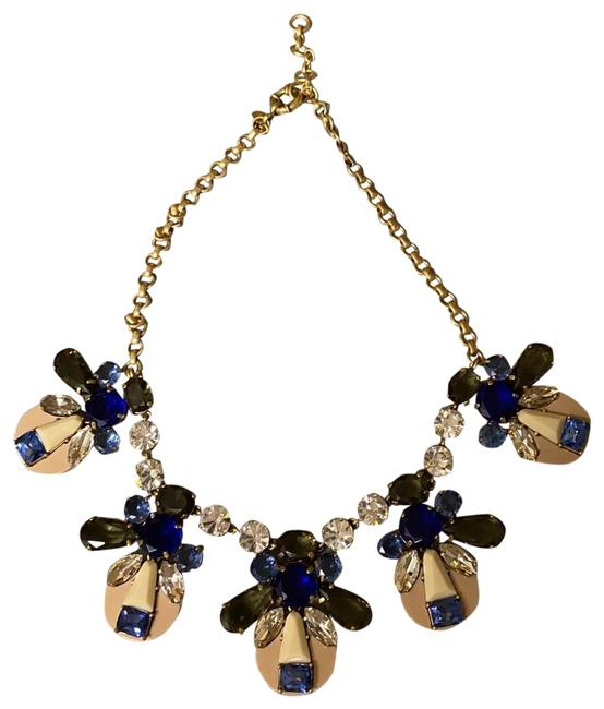 Item - Cream Crystal Blue Purple Olive Green Beige. Gold Chain Statement Necklace