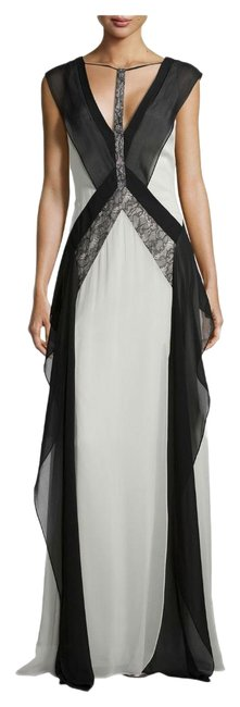 Item - Multicolor XS Jenelle Lace Silk Chiffon Colorblock Maxi Long Night Out Dress Size 2 (XS)