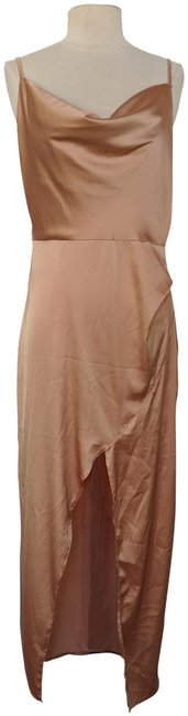 Item - Beige Nude Cowl Play Satin Midi Us Medium Long Cocktail Dress Size 10 (M)