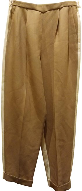 Item - Tan Off White Fr 42 Bicolor Pleated Cuffed Pants Size 10 (M, 31)