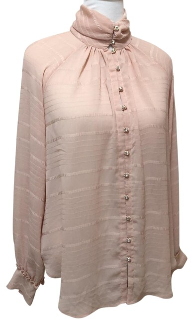 Item - Pale Pink Long Sleeve Button Shirt Blouse Size 14 (L)