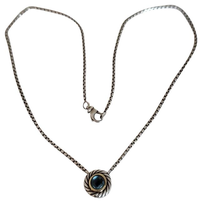 """Item - Blue Box Ss/18k Yg Topaz Cookie 16.5"""" 1.7mm Baby Chain Necklace"""