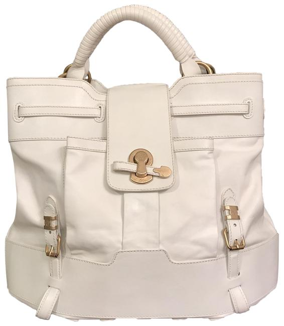 Item - Lg Smooth White Gold Leather Satchel