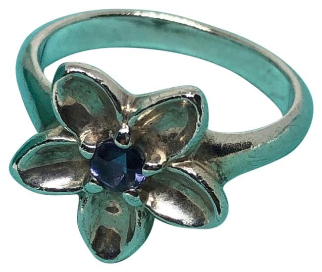 Item - Silver and Purple Stone 2003 Iolite Flower Euc Size 8 Ring