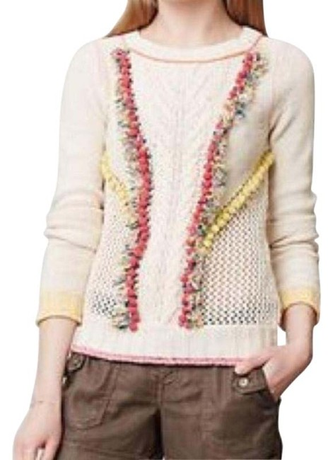 Item - Pom Pom Cable Knit Crochet Light-weight 100%cotton Cream Pink Sweater
