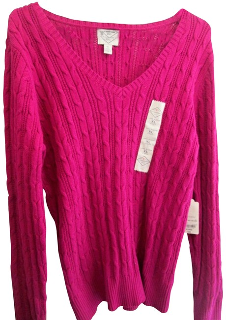 Item - XL Women's Cable Knit Size Fuchsia Sweater