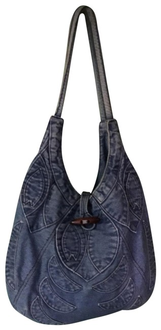 Item - Embroidered 70s Look Blue Denim Hobo Bag