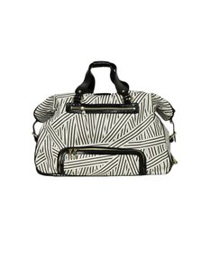 Henri Bendel Coated Canvas Stripes Luggage White, Brown Travel Bag