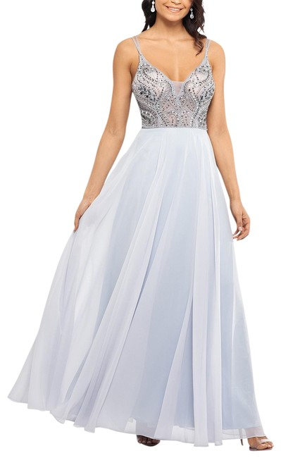 Item - Silver Beaded-bodice Gown Long Formal Dress Size 10 (M)