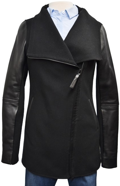 Item - Black Wool & Leather Small Coat Size 4 (S)