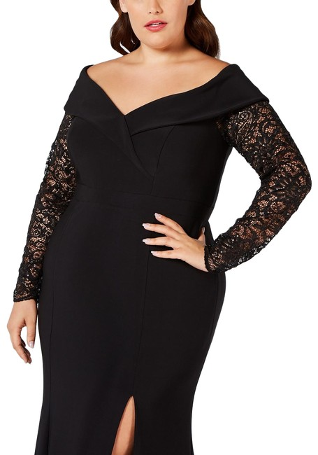 Item - Black Lace-sleeve Off-the-shoulder Gown Plus Long Formal Dress Size 14 (L)